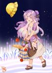 1girl :d absurdres alternate_costume apple azur_lane bottle bread carrying casual commentary_request contemporary food fruit full_body hair_bun hair_ribbon hat hat_removed headwear_removed highres long_hair looking_at_viewer mary_janes one_side_up open_mouth picnic_basket purple_hair ribbon shizi_suky shoes side_bun smile socks solo stuffed_animal stuffed_pegasus stuffed_toy stuffed_unicorn unicorn_(azur_lane) violet_eyes walking white_legwear wind