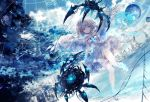 1girl angel angel_wings bangs bare_arms bare_shoulders blue_eyes blue_sky breasts building cityscape clouds cloudy_sky collarbone commentary_request crystal digital_dissolve dress dutch_angle eyebrows_visible_through_hair feathered_wings heterochromia highres holding light_brown_hair long_hair looking_at_viewer machine onineko original outdoors parted_lips planet red_eyes sky skyscraper small_breasts solo strapless strapless_dress very_long_hair white_dress white_wings wings