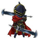 1boy ainz_ooal_gown armor armored_boots blackgeneride boots cape chibi dual_wielding full_armor full_body gauntlets helmet highres holding holding_sword holding_weapon overlord_(maruyama) red_cape solo sword watermark weapon