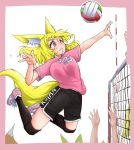 1girl absurdres animal_ears bangs black_legwear black_shorts blonde_hair blush bouncing_breasts breasts doitsuken fang fox_ears fox_tail fox_wife_(doitsuken) hair_between_eyes highres jumping kneehighs long_hair medium_breasts original out_of_frame parted_lips pink_eyes pink_footwear pink_shirt shirt shoes short_sleeves shorts solo_focus tail volleyball volleyball_net