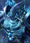 arima_kouichi blue_eyes cocytus_(overlord) highres overlord_(maruyama) signature solo spaulders upper_body