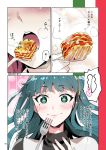 +_+ 1girl blue_eyes blue_hair cleopatra_(fate/grand_order) close-up closed_mouth comic eating fate/grand_order fate_(series) fork hairband heart highres lasagna_(food) long_hair redrop smile solo steam translation_request twitter_username