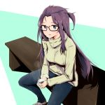 1girl bench black-framed_eyewear blue_eyes blue_pants blush breasts brown_footwear coffee coffee_mug commentary_request cup denim glasses green_sweater highres holding holding_cup holding_mug jeans kagamihara_sakura lips long_hair looking_at_viewer medium_breasts mug one_side_up pants parted_lips pink_lips purple_hair ribbed_sweater shoes sitting sneakers solo steam sweater turtleneck turtleneck_sweater very_long_hair watermelon_pan yurucamp