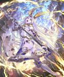 1girl animal_ears armor ass bikini black_bikini breasts character_request commentary_request electricity fantasy flat_ass full_body gauntlets greaves highres hisakata_souji holding holding_weapon horn long_hair open_mouth polearm rabbit_ears see-through shingeki_no_bahamut side-tie_bikini silver_hair small_breasts solo swimsuit swimsuit_under_clothes thigh-highs trident very_long_hair violet_eyes weapon