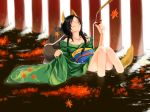 bad_id japanese_clothes kimono kurafuji_sachi leaf leaves onsen original sitting tail water