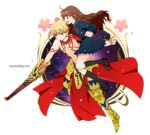 1boy 1girl armor blonde_hair brown_eyes brown_hair chain copyright_name ea_(fate/stay_night) earrings fate/extra_ccc fate_(series) female_protagonist_(fate/extra) gilgamesh jewelry red_eyes school_uniform serafuku shirtless tattoo yui6157
