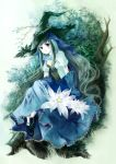 dress flower gloves green_hair hat kaedena_akino long_hair original tree very_long_hair witch_hat