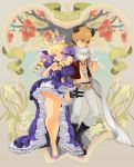 apple art_nouveau belt beltskirt blonde_hair boots bow chkuyomi couple crown dress drill_hair earrings elaborate_frame fantasy fingerless_gloves flower food frame frills fruit gathers gloves hair_bow hair_ornament high_heels holding_hands horns jewelry legs necklace original plant princess purple_eyes red_eyes ribbon royal ruffles scarf shoes skull tree twintails vest