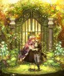 chibi_(artist) chibi_(shimon) door fence flower garden glasses grass horns original pink_hair skirt tail
