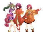 bad_id boots cape chiki circlet dress fa fire_emblem fire_emblem:_fuuin_no_tsurugi fire_emblem:_monshou_no_nazo fire_emblem:_seima_no_kouseki fire_emblem:_the_sacred_stones fire_emblem_fuuin_no_tsurugi fire_emblem_shadow_dragon green_hair hiz_(pixiv) long_hair multiple_girls myrrh orange_dress purple_hair red_hair redhead ribbon robe sash smile