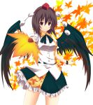 black_hair black_wings fan hat leaf leaves red_eyes shameimaru_aya short_hair tokin_hat touhou wings yuurakudou_kurono