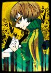 brown_hair buttons clenched_hand fist flower frame glasses jacket makora_higa persona persona_4 profile satonaka_chie short_hair side sitting skirt smile yellow-framed_glasses