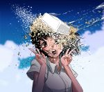 1girl bamola black_hair brown_eyes clouds cloudy_sky collared_shirt commentary_request double_v food looking_at_viewer noodles open_mouth original shirt short_hair short_sleeves sky solo translation_request v water white_shirt