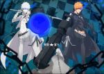 2boys belt black_footwear black_jacket black_pants black_rock_shooter_(character) black_rock_shooter_(character)_(cosplay) black_shirt bleach chains checkered checkered_background cosplay glowing glowing_eye grey_cape grey_pants groin gun holding holding_gun holding_sword holding_weapon jacket kurosaki_ichigo masaki_(logic15) midriff multiple_boys navel orange_hair over_shoulder pants shirt spiky_hair standing stomach sword sword_over_shoulder weapon weapon_over_shoulder white_rock_shooter white_rock_shooter_(cosplay)