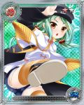 1girl arm_up ass black_coat black_hat brown_eyes card_(medium) chinkyuu coat cutoffs denim denim_shorts feet green_hair hair_bobbles hair_ornament hairclip hat katagiri_hinata kicking koihime_musou leg_lift long_hair official_art open_mouth shirt shoes short_shorts shorts solo striped striped_legwear thigh-highs twintails white_shirt