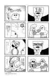 1girl 3boys 4koma :3 armor bald ball bear bkub blank_eyes boxing boxing_gloves boxing_shorts clouds comic cosplay crescent_moon emphasis_lines facial_hair goho_mafia!_kajita-kun greyscale hat holding holding_sign hoshi_no_kirby hoshi_no_kirby_super_deluxe jacket kirby kirby_(cosplay) kirby_(series) kirby_super_star mafia_kajita marx marx_(cosplay) mechanical_arm monochrome moon multiple_4koma multiple_boys mustache one_eye_closed parody pompadour punching robotic_parts shirt shorts sign simple_background skeleton smile speech_bubble speed_lines sun sunglasses talking title translation_request two-tone_background