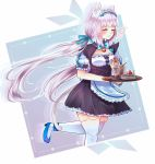 1girl ^_^ animal_ears apron bell blue_bow blue_footwear blue_ribbon blush bow bowtie cake cat_ears closed_eyes commentary cookie drinking_straw food frilled_apron frills glass hair_ribbon jingle_bell long_hair low_twintails maid maid_headdress nekopara pastry puffy_short_sleeves puffy_sleeves ribbon ribbon-trimmed_clothes ribbon_trim shoes short_sleeves silver_hair solo suulore thigh-highs tray twintails vanilla_(sayori) very_long_hair waist_apron white_legwear