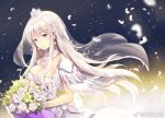 1girl azur_lane bouquet breasts bride cleavage closed_mouth crown detached_collar dress enterprise_(azur_lane) feathers floating_hair flower jewelry large_breasts long_hair looking_at_viewer necklace pink_hair rose sibyl smile solo standing veil violet_eyes wedding_dress white_dress white_flower white_rose