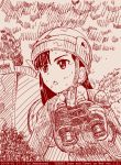 1girl abazu-red asymmetrical_bangs bangs binoculars black_hair chi-hatan_military_uniform girls_und_panzer long_hair monochrome nishi_kinuyo nishi_koutarou solo sweat tegaki tegaki_draw_and_tweet upper_body