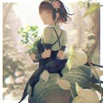1girl arm_warmers backlighting bangs black_dress black_ribbon bloomers blurry blurry_background bnahabra_(armor) breasts brown_eyes brown_hair cowboy_shot depth_of_field dress echosdoodle flower flower_pot hair_flower hair_ornament hair_ribbon hairband leaf monster_hunter monster_hunter:_world outdoors parted_lips petticoat pink_flower pink_rose plant potted_plant puffy_short_sleeves puffy_sleeves rain ribbon rose rose_hair_ornament shirt short_hair short_sleeves small_breasts smile solo standing tareme two-tone_hairband underwear upskirt water water_drop white_shirt