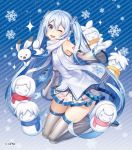 1girl ;d arm_tattoo blue_background blue_eyes blue_hair character_request detached_sleeves grey_legwear hair_ornament hatsune_miku kneeling long_hair looking_at_viewer mittens one_eye_closed open_mouth scarf skirt smile snowflakes snowman solo striped striped_background taranbo tattoo thigh-highs twintails very_long_hair vocaloid watermark white_mittens white_scarf yuki_miku