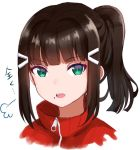 1girl =3 alternate_hairstyle bangs black_hair green_eyes hair_ornament hairclip jacket kurosawa_dia love_live! love_live!_sunshine!! mia_(fai1510) open_mouth ponytail portrait red_jacket sidelocks simple_background solo track_jacket translation_request turtleneck white_background zipper_pull_tab