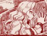1girl abazu-red bomber_jacket from girls_und_panzer hair_intakes jacket kay_(girls_und_panzer) long_hair monochrome saunders_military_uniform smile solo tegaki tegaki_draw_and_tweet