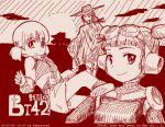 3girls abazu-red aki_(girls_und_panzer) alternate_costume bangs blunt_bangs bt-42 double_bun girls_und_panzer goggles goggles_on_head ground_vehicle hat knife looking_at_viewer mika_(girls_und_panzer) mikko_(girls_und_panzer) military military_vehicle monochrome motor_vehicle multiple_girls short_twintails smile tank tegaki tegaki_draw_and_tweet twintails