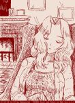 1girl abazu-red alternate_costume closed_eyes fire fireplace girls_und_panzer hair_intakes jacket kay_(girls_und_panzer) long_hair monochrome picture_frame sleeping solo sweater tegaki tegaki_draw_and_tweet