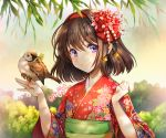 1girl ahngkeut bangs bird bird_on_finger blush brown_hair day eyebrows_visible_through_hair floral_print flower hair_flower hair_ornament hairband hands_up japanese_clothes kimono obi outdoors plant print_kimono red_flower red_hairband red_kimono sash short_hair sleeves_past_elbows solo sparrow talons tree twitter_username upper_body violet_eyes wide_sleeves yellow_flower