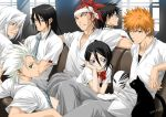 1girl 6+boys abarai_renji bandanna black_eyes black_hair bleach blue_neckwear bow bowtie brown_eyes cat character_request chin_rest collarbone couch crossed_arms dress_shirt facial_mark grey_pants hair_between_eyes hitsugaya_toushirou indoors kedo_mitsuharu kuchiki_byakuya kuchiki_rukia kurosaki_ichigo looking_at_viewer mask multiple_boys necktie orange_hair pants ponytail red_bow red_neckwear redhead shirt short_hair short_sleeves signature silver_hair sitting smile spiky_hair striped_neckwear sunlight white_shirt window