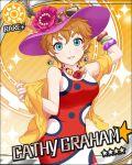 blue_eyes blush cathy_graham character_name dress hat idolmaster idolmaster_cinderella_girls orange_hair short_hair smile stars