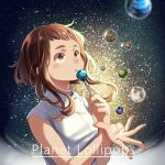 1girl boku_no_hero_academia brown_eyes brown_hair candy english food lollipop looking_to_the_side medium_hair nanaminn planet signature solo star starry_background upper_body uraraka_ochako