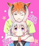 1boy 1girl :3 animal_ears bangs carrot character_name eyebrows_visible_through_hair fox_ears green_eyes green_shirt grey_hair holding hug hug_from_behind humanization judy_hopps looking_at_viewer nick_wilde one_eye_closed orange_hair pink_background rabbit_ears shirt short_hair sibyl simple_background smile star twitter_username violet_eyes weibo_id wide-eyed zootopia