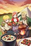 1girl 2boys :d bangs beer_mug beige_shirt black_footwear black_pants blonde_hair blue_eyes blush boots bowl brown_footwear brown_hair carrot chair commentary_request copyright_request cup dress eyebrows_visible_through_hair fire food green_jacket hair_between_eyes holding holding_bowl holding_cup hood hood_down hoodie jacket knee_boots long_hair long_sleeves meat mountain multiple_boys open_clothes open_jacket open_mouth outdoors pants plate pot red_jacket shirt sitting smile stew sunset table tent white_dress white_hoodie yatomi