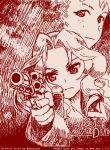 2girls abazu-red alternate_costume freckles girls_und_panzer gun handgun kay_(girls_und_panzer) long_hair monochrome multiple_girls naomi_(girls_und_panzer) revolver short_hair tegaki tegaki_draw_and_tweet weapon