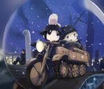 1boy 2girls aircraft airplane black_hair blonde_hair blue_eyes chito_(shoujo_shuumatsu_ryokou) driving eyewear_on_head fish fur_trim glasses gloves hat helmet highres kabayaki_namazu kanazawa_(shoujo_shuumatsu_ryokou) kettenkrad military military_hat military_uniform multiple_girls nuko_(shoujo_shuumatsu_ryokou) open_mouth pointing shoujo_shuumatsu_ryokou smile smoking snowing stahlhelm statue uniform yuuri_(shoujo_shuumatsu_ryokou)