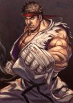 >:( 1boy asutora bandage bandaged_hands belt black_belt blue_eyes brown_hair clenched_hands closed_mouth commentary_request cowboy_shot fighting_stance fingerless_gloves foreshortening frown gloves headband highres looking_at_viewer male_focus muscle pants red_headband ryuu_(street_fighter) sleeveless solo standing street_fighter torn_clothes white_pants