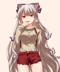 1girl alternate_costume beige_background beige_sweater bow breasts commentary_request cowboy_shot cutoffs fujiwara_no_mokou hair_bow hand_to_own_mouth hand_up long_hair long_sleeves looking_at_viewer medium_breasts miyo_(ranthath) open_mouth red_eyes red_shorts ribbed_sweater short_shorts shorts silver_hair simple_background solo standing suspenders sweater touhou very_long_hair white_bow