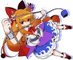 1girl belt black_footwear blue_skirt bobby_socks bow chains commentary_request cuffs eichi_yuu flame_print frilled_skirt frills hair_bow horn_bow horns ibuki_suika long_hair looking_at_viewer orange_hair pointy_ears purple_bow red_bow red_eyes red_neckwear shackles shirt shoe_bow shoes sidelocks simple_background skirt sleeveless smile socks solo tongue tongue_out touhou very_long_hair white_background white_legwear white_shirt