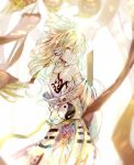 1girl armlet back bare_shoulders blonde_hair closed_mouth earmuffs floating_hair floral_print from_behind highres huang_li_ling japanese_clothes looking_at_viewer looking_back off_shoulder pointy_hair profile ritual_baton solo standing tattoo touhou toyosatomimi_no_miko white_background wide_sleeves wind yellow_eyes yin_yang