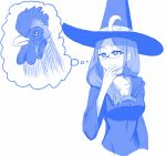 1girl bird blue breasts chicken choker cleavage closed_mouth crescent crescent_moon_pin dress glasses hand_on_own_chin hand_up hat hat_pin highres little_witch_academia monochrome rooster semi-rimless_eyewear simple_background solo symbolism thinking thought_bubble under-rim_eyewear upper_body ursula_charistes viperxtr white_background witch_hat