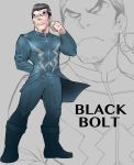 1boy beard black_bolt_(marvel) blue_eyes bodysuit boots brown_hair character_name facial_hair glowing glowing_eyes grey_background highres jewelry male_focus marvel nakasone_god ring solo