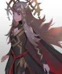 1girl armor cape cleavage_cutout commentary_request crown elbow_sleeve fire_emblem fire_emblem_heroes gloves grey_hair hair_ornament kyufe long_hair red_eyes solo veronica_(fire_emblem)