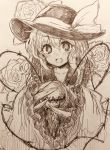 1girl bangs blush bow claws efukei eyebrows_visible_through_hair flower hair_between_eyes hat hat_bow highres holding komeiji_koishi looking_at_viewer monochrome nose_blush open_mouth solo third_eye touhou traditional_media upper_body