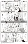 3girls 4koma :d artist_request ayanami_(azur_lane) azur_lane comic commentary_request crown greyscale hair_ornament hairpin hand_holding headgear highres javelin_(azur_lane) laffey_(azur_lane) long_hair mini_crown monochrome multiple_girls navel open_mouth pleated_skirt ponytail scarf school_uniform serafuku skirt smile translation_request twintails