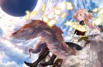 1boy ;d alternate_costume astolfo_(fate) bangs bare_shoulders black_bow black_legwear blue_sky blush book bow braid clouds cloudy_sky commentary_request day detached_sleeves fang fantasy fate/apocrypha fate_(series) flying gloves glowing gold_trim hair_bow hair_intakes highres hippogriff holding holding_book long_hair long_sleeves looking_away looking_to_the_side male_focus multicolored_hair no_shoes one_eye_closed open_book open_mouth pages pink_hair riding saddle shirt single_braid sky smile streaked_hair sunlight trap turtleneck two-tone_hair violet_eyes white_gloves white_hair white_shirt zetsuki_(theendoftheworid)