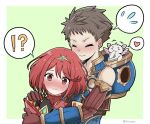 1boy 1girl armor black_hair blush bodysuit breasts brown_hair closed_eyes embarrassed fingerless_gloves gloves hair_ornament homura_(xenoblade_2) hug looking_at_viewer red_eyes redhead rex_(xenoblade_2) short_hair simple_background smile xenoblade_(series) xenoblade_2