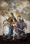 4boys 4girls absurdres alfyn_(octopath_traveler) blonde_hair boots brown_hair dancer earrings everyone gloves h'aanit_(octopath_traveler) hair_over_one_eye hat highres hoop_earrings jewelry map midriff mole mole_under_mouth multiple_boys multiple_girls octopath_traveler official_art olberic_eisenberg poncho primrose_azelhart sandals scar scarf serious smile square_enix staff sword tail therion_(octopath_traveler) tressa_(octopath_traveler) walking weapon world_map yoshida_akihiko