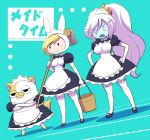 2girls adventure_time alternate_costume animal_ears animal_hood apron bangs black_dress black_footwear blonde_hair breasts bucket bunny_hood cake_(adventure_time) cat collared_dress crossed_arms d: dress elbow_gloves enmaided eyebrows eyebrows_visible_through_hair fangs fionna_the_human_girl frown genderswap genderswap_(ftm) gloves hair_between_eyes hands_on_hips high_ponytail holding holding_bucket hood ice_queen large_breasts legs_apart long_hair maid maid_apron maid_headdress mary_janes medium_breasts mop multiple_girls nollety open_mouth over_shoulder puffy_short_sleeves puffy_sleeves rabbit_ears shoes short_sleeves solid_oval_eyes standing thigh-highs white_apron white_gloves white_hair zettai_ryouiki